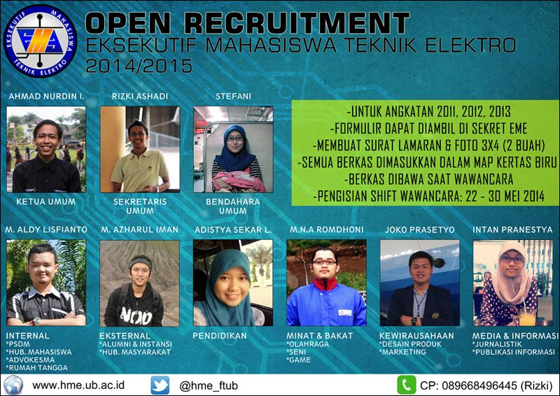 Open Recruitment Eksekutif Mahasiswa Teknik Elektro 2014/2015